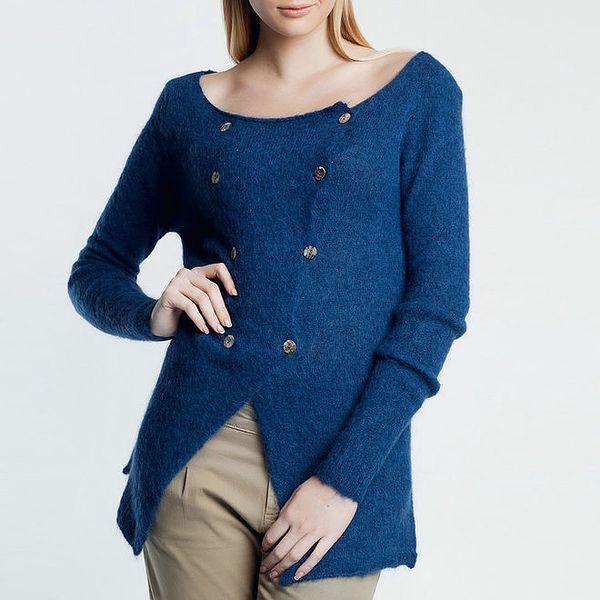 Dámský modrý svetřík na knoflíky Nero su Bianco