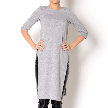 Dámské šedé bavlněné šaty s rozparkem Santa Barbara