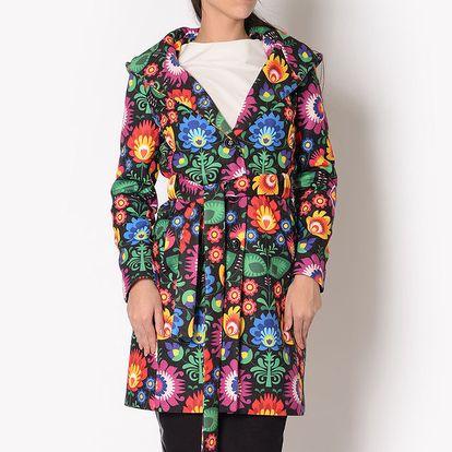 Dámský kabát s barevným květinovým vzorem a kapucí Santa Barbara