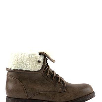 Kotníkové boty, šedohnědá