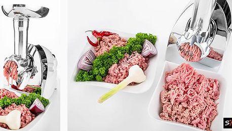 Elektrický multifunkční mlýnek na maso. Ve výbavě má kromě děrovaných kotoučků na mletí masa inástavec naplnění do stříveka nástavec nastříkané pečivo.Připravte si doma jednoduše a rychle čerstvé pokrmy zpoctivých surovin!