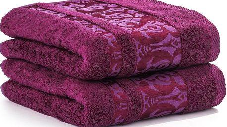 Ariatex ručník Bamboo De Luxe, fuchsiová, 50 x 90 cm, sada 2 ks