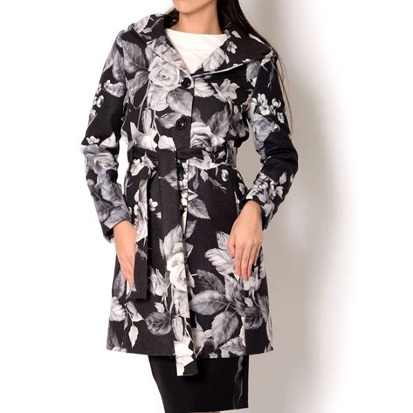 Dámský černý kabát s šedým květinovým potiskem Santa Barbara