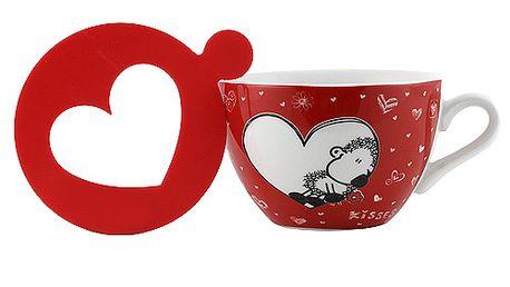 Překrásný cappuccino hrneček se šablonkou v designu ovečky v srdíčku z kolekce Sheepworld