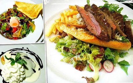3chodové menu s flank steakem pro 2 milovníky masa