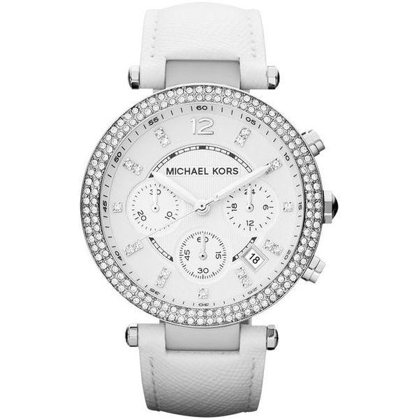 Dámské analogové hodinky s bílým koženým páskem Michael Kors