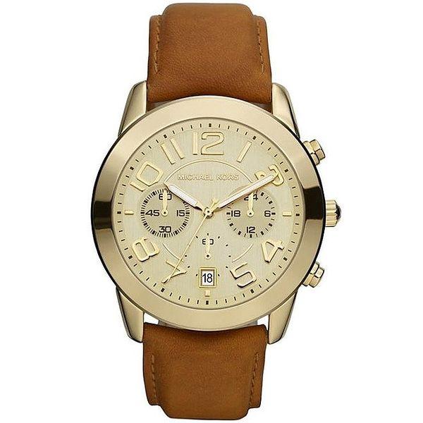 Krásné pozlacené hodinky s hnědým koženým páskem Michael Kors