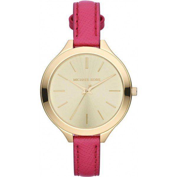 Dámské minimalistické hodinky s růžovým páskem Michael Kors - zlatá barva