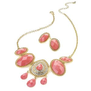 Dámský set náhrdelníku a náušnic s růžovými kameny Red Bananas