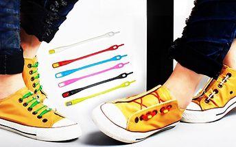 Silikonové tkaničky do bot o délce 12 cm! Hit díky barevné škále a snadnému zapínání!