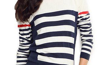Dámský bílo-modrý svetr s proužky ARS Collection