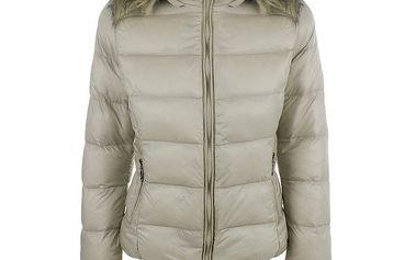 Dámská béžová prošívaná bunda s kapucí B.style