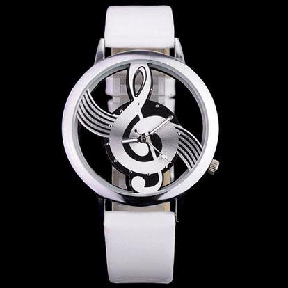 Originální dámské analogové hodinky - ciferník houslový klíč