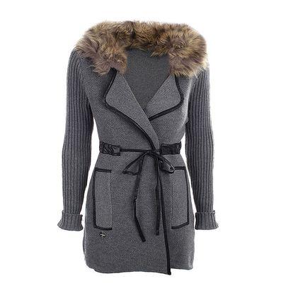 Dámský šedý svetrový kabátek s kožíškem Preziosa