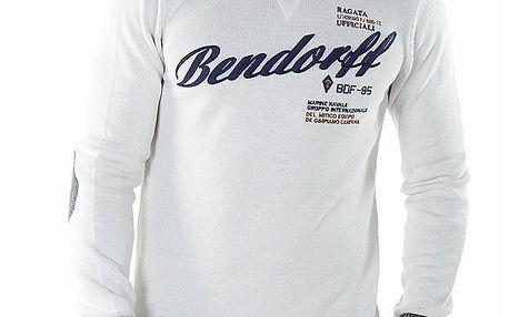 Pánský bílý svetr s kontrastními lemy Bendorff