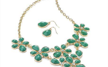 Dámský set náhrdelníku a náušnic se zelenými krystaly Red Bananas