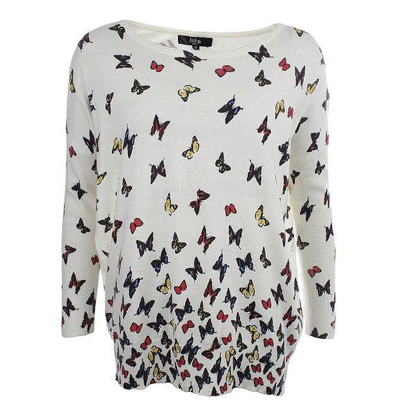 Dámský smetanový oversized svetr s motýlky Iska