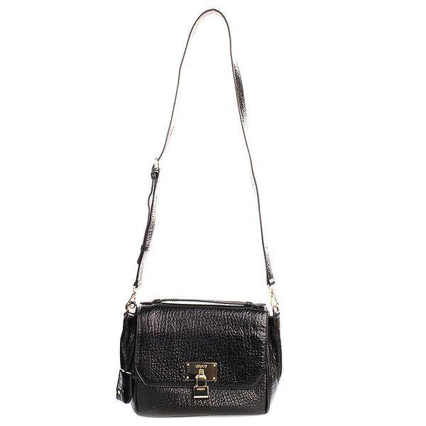 Dámská menší kožená kabelka v černé barvě DKNY