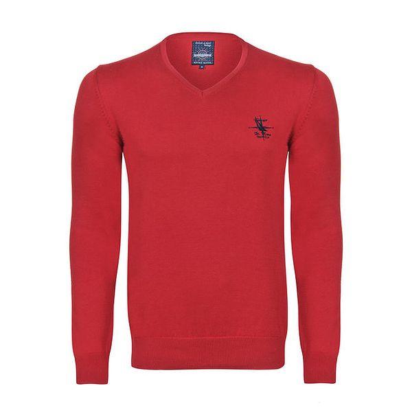 Pánský červený svetr s véčkovým výstřihem Giorgio di Mare