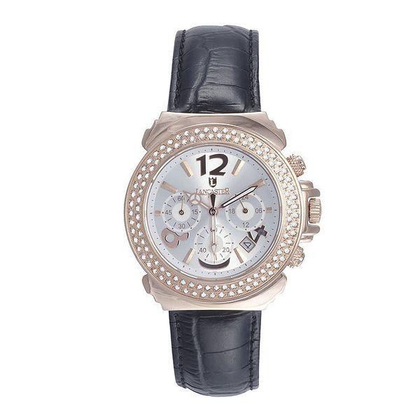 Dámské růžové ocelové hodinky s krystaly a černým řemínkem Lancaster