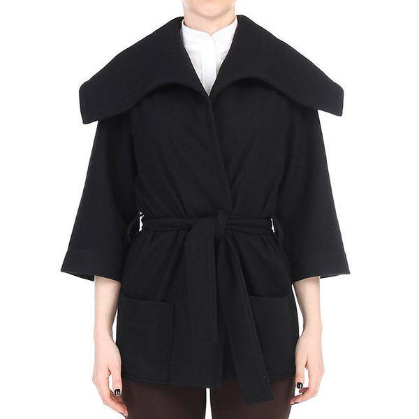 Dámský černý krátký kabátek se zavazováním v pase Yuliya Babich