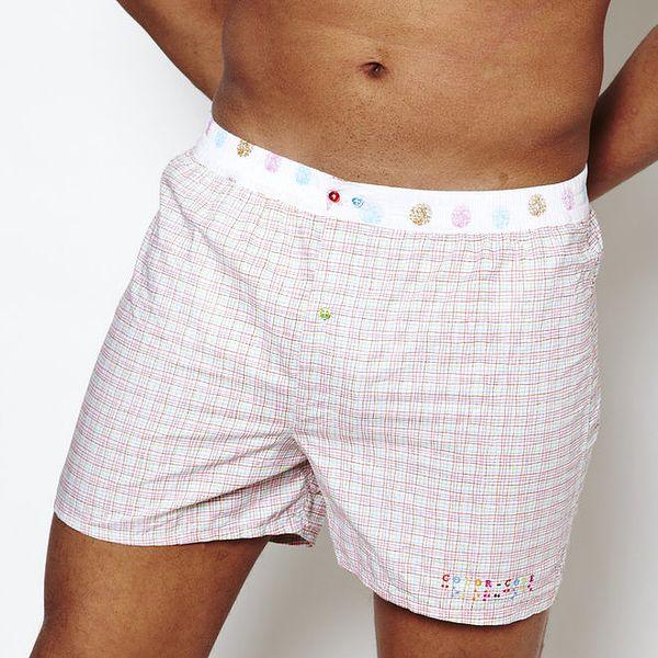Pánské bílé kárované boxerky Color Code