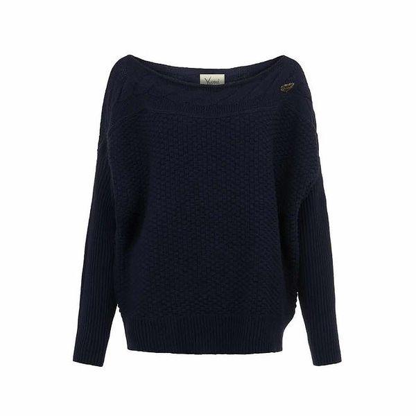Dámský tmavě modrý svetr s plastickým vzorem Yumi