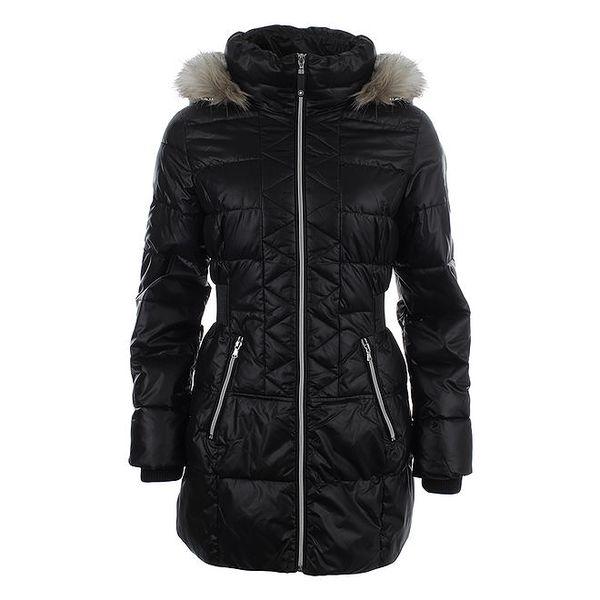 Dámský černý prošívaný kabát s kapucí Halifax
