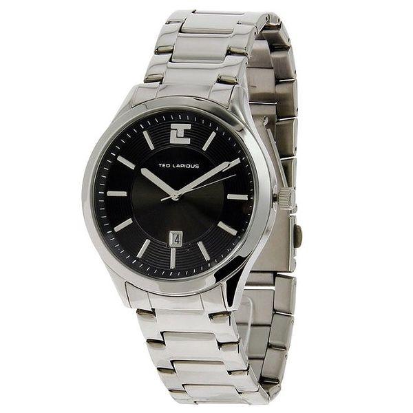 Pánské ocelové hodinky s černým ciferníkem Ted Lapidus