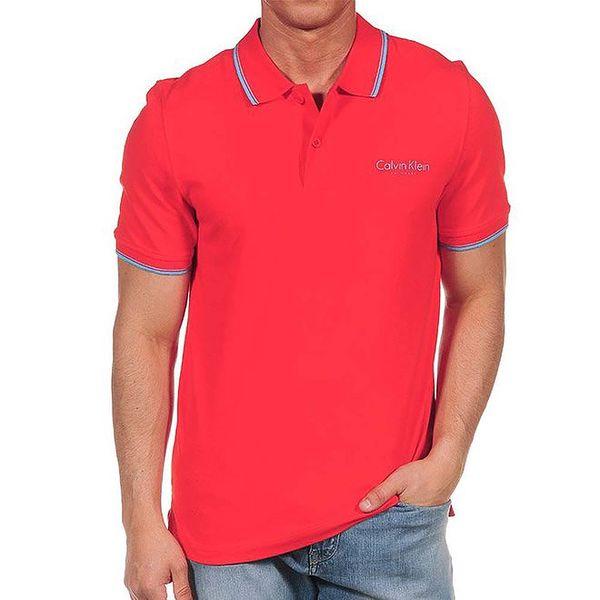 Pánské červené polo triko s modrými lemy Calvin Klein