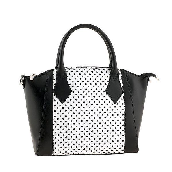 Dámská černo-bílá kabelka s puntíky Classe regina
