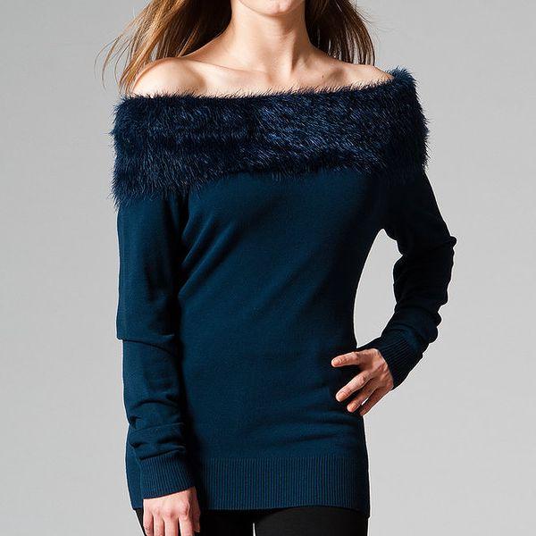 Dámský tmavomodrý svetr s kožíškem Pietro Filipi