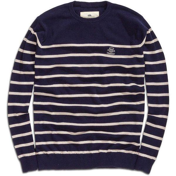 Pánský tmavomodrý svetr s proužky Timeout