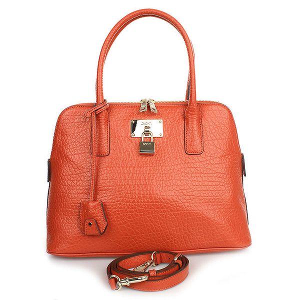 Dámská kožená kabelka v oranžovém odstínu DKNY