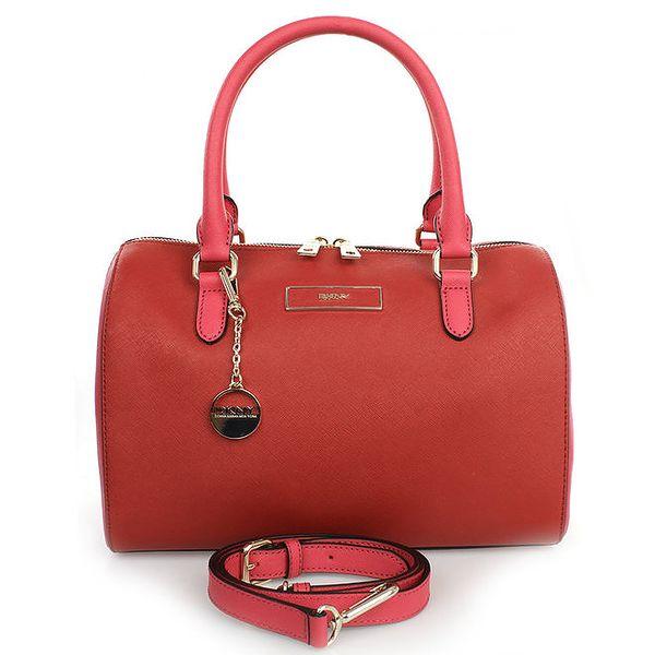Dámská červená kabelka s přívěskem a růžovými poutky DKNY