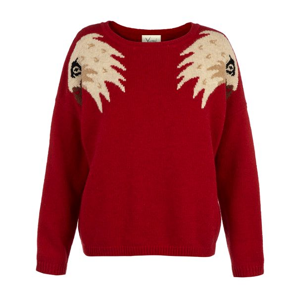 Dámský červený oversized svetr s orlími hlavami Yumi