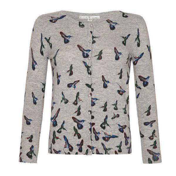 Dámský šedý svetřík s barevnými kolibříky a knoflíky Uttam Boutique