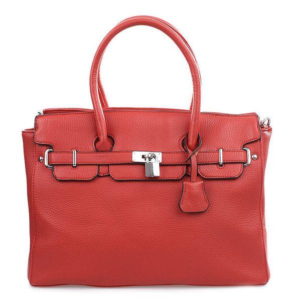 Dámská červená kabelka se zámečkem a ramenním popruhem Bessie