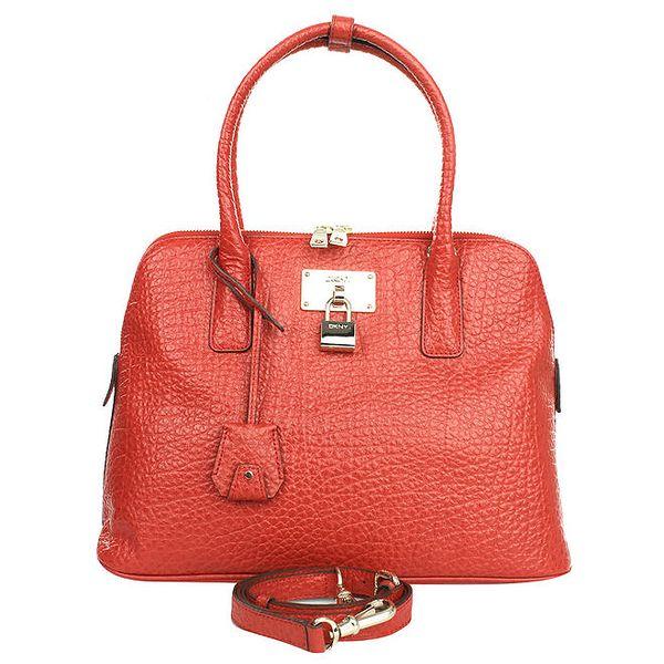 Dámská kožená kabelka v červeném odstínu DKNY