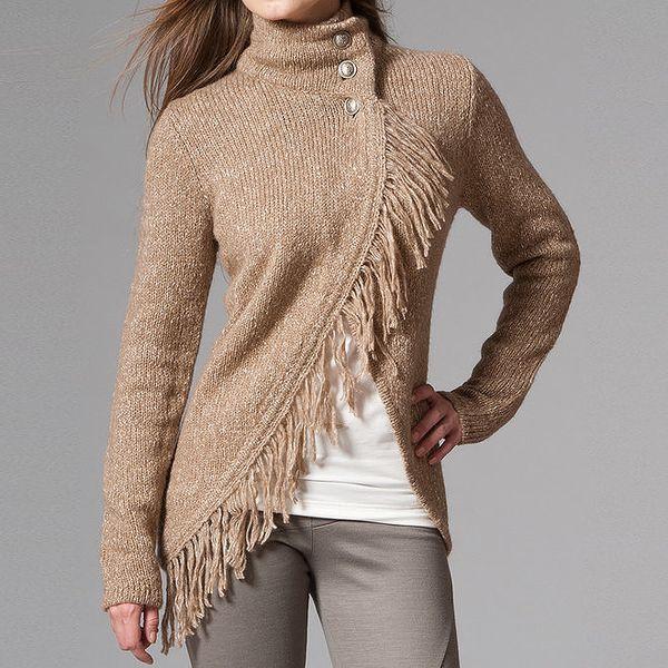 Dámský světle hnědý žíhaný svetr s třásněmi Pietro Filipi