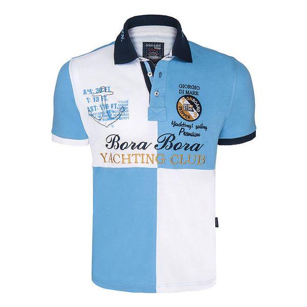 Pánské modro-bílé kostkované polo triko Giorgio Di Mare