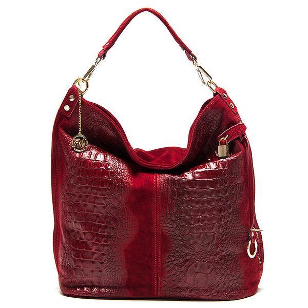 Dámská červená lesklá kabelka s reliéfním vzorem Roberta Minelli