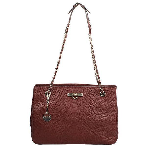 Dámská vínová vzorovaná kabelka s kombinovaným popruhem DKNY