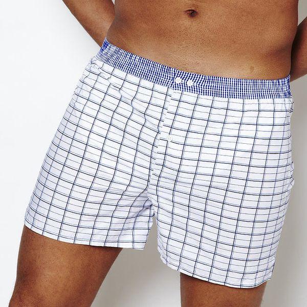 Pánské kárované bílo-modré boxerky Color Code