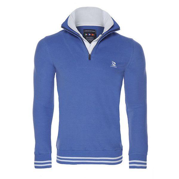 Pánský modrý svetr s bílými detaily Giorgio di Mare