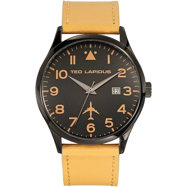 Pánské černé hodinky se žlutým řemínkem Ted Lapidus