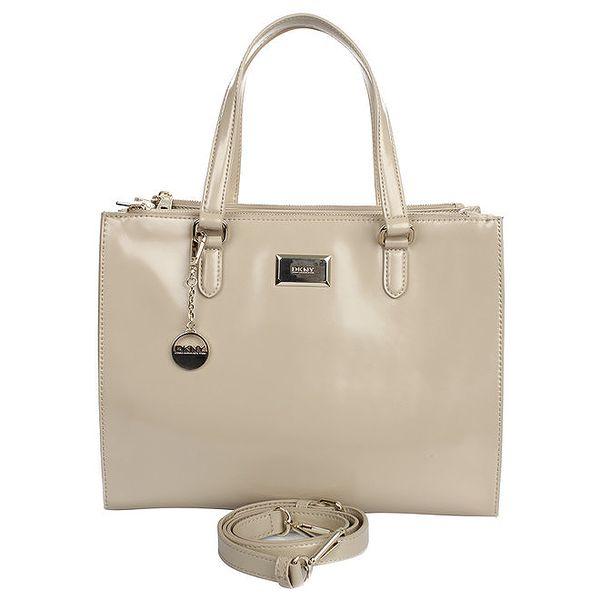Dámská kožená kabelka s kulatým přívěskem v béžovém odstínu DKNY