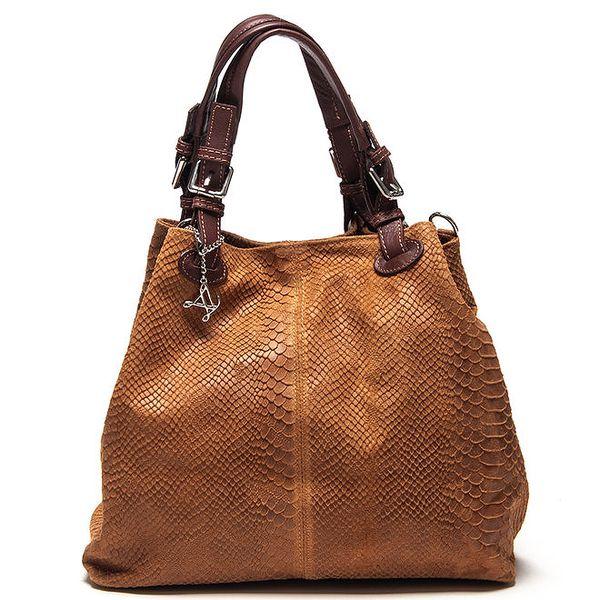 Dámská koňakově hnědá kožená kabelka se šupinatým vzorem Luisa Vannini