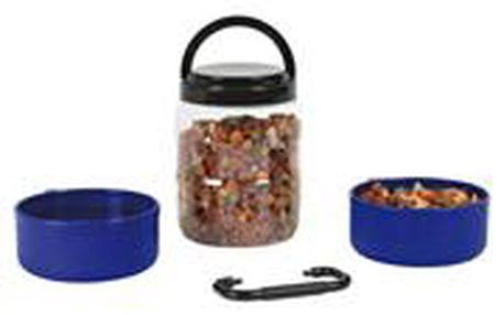 Cestovní plastový zásobník na krmivo 1,75l +2 misky á 0,65l