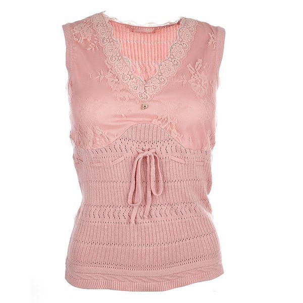 Dámský světle růžový top s krajkou a zavazováním Phard